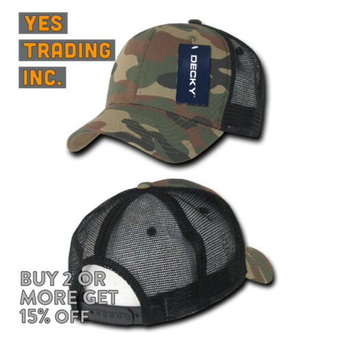 DECKY MENS TRUCKER HAT BASEBALL HATS SNAPBACK CAP CAMO MILITARY BDU MESH CAPS