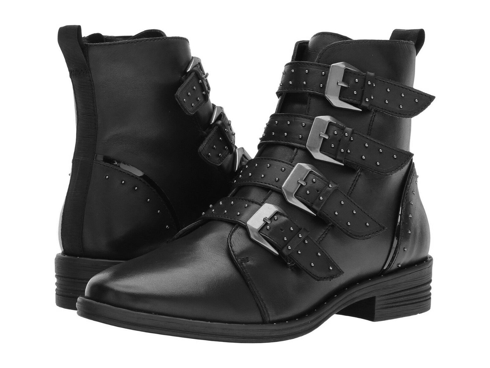 Steve Madden Pursue Boots Buckled Straps Stud Zip Zip Zip Black Leather shoes Moto Biker 8cce68