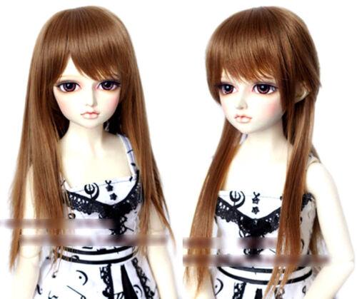"6-7/"" 1//6 BJD Doll Straight Medium Long Wig Hair Golden Brown Smooth UAL-e"