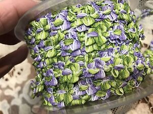 VINTAGE-FRENCH-ROCOCO-Florettes-TRIM-RIBBON-1yd-3-8-034-Green-amp-Purple