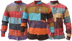 Algodon-Claro-Abuelo-Rayas-Abuelo-con-Botones-Manga-Larga-Top-Verano-Camisas