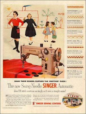 1949 Vintage Ad Singer Swing Needle Automatic Sewing Machine 070718 Ebay