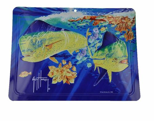 12 Inches x 9 Inches Authentic Guy Harvey Aluminum Art Swimming Dolphinfish