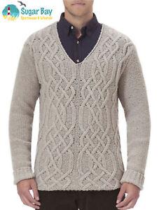 Authenic-BARBOUR-Mens-STARK-V-Neck-Sweater-Jumper-Lambswool-Wool-Light-Stone-XXL