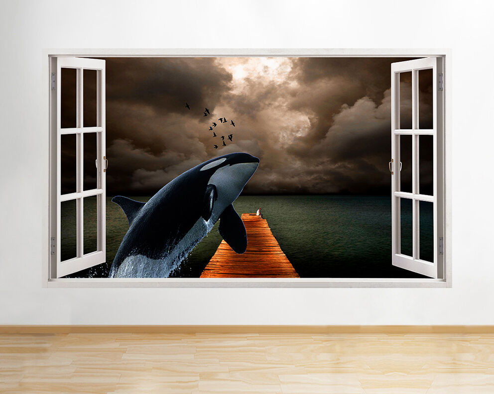 Q226w Whale Sea Pier Jump Window animal mu Autocollant Chambre 3D Vinyle enfants