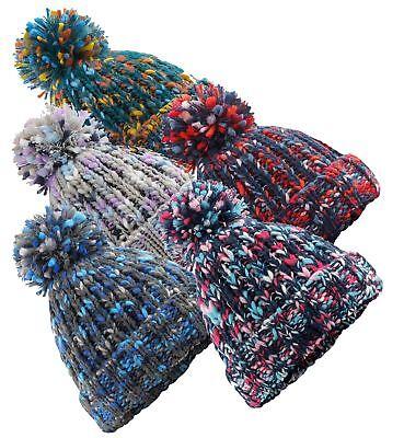 Adults Warm Fine Knit Soft Touch Acrylic Bobble Pom Pom Ski Hat Beanie