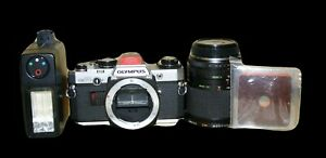 Olympus-OM10-Camera-35mm-SLR-Sunagor-Zoom-Lens-Prinz-Flash-Sacar-Leather-Case