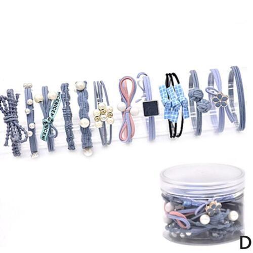 12x Frauen-nette elastische Haarbänder mit Perlen-Pferdeschwanz-Halter-Gummihaar