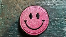 Patch Smiley Emoji Gesicht rosa Glitzer mit Strasssteinen Bügelbild Applikation