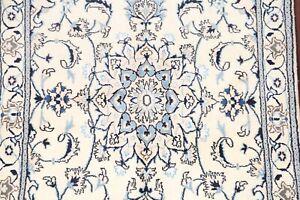 Wool-amp-Silk-Light-Color-Floral-Nain-Ivory-Medallion-Oriental-Area-Rug-Carpet-4-039-x6-039