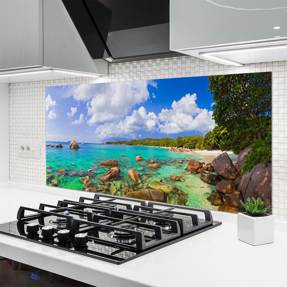 Vidrio Templado 140x70 Cocina salpicaduras 140x70 Templado Mar Piedras Árboles Paisaje d787d2