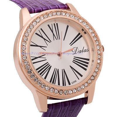 Fashion Womens Purple Leather Band Analog Quartz Sport Waterproof Wrist Watch