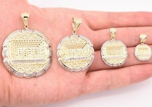 Mens-Apostles-Last-Supper-Charm-Pendant-Diamond-Cut-Real-10K-Yellow-White-Gold