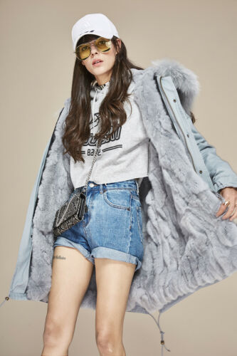 Women Rabbit Lining Coat Colored Real Fur Jacket Parka Long Army IBxqfBrw