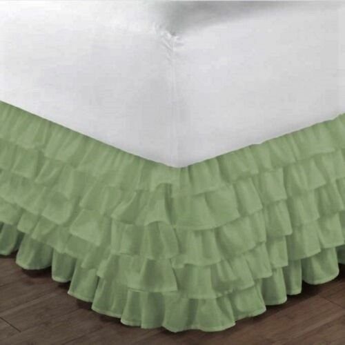 1000 TC Multi Ruffle Bed Skirt Egyptian Cotton Choose Drop length US Size Solid