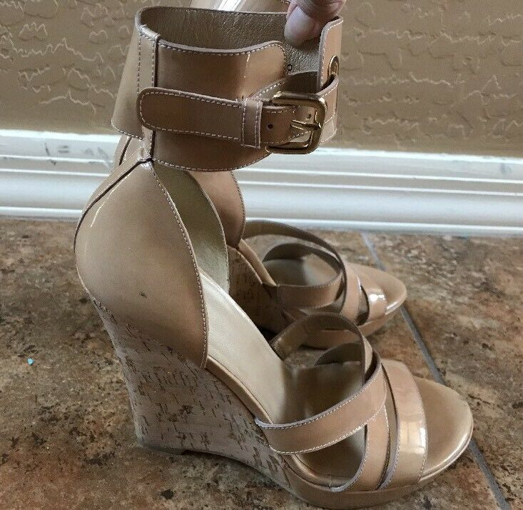 Stuart Weitzman  Tan Patent Leather  Wedge Ankle Strap Sandals Size 9 N News