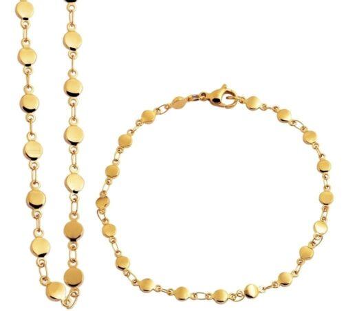 Armband Kette goldfarbig edel Edelstahl Schmuckset Damen Halskette