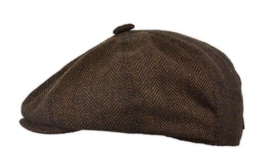 Brown Herringbone Tweed CAPPELLO da strillone Bakerboy Retrò Berretto Piatto