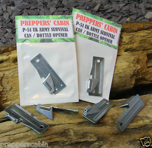 2x US ARMY P51 SHELBY Survival Can Tin /& Bottle Opener Bushcraft Camping Scouts