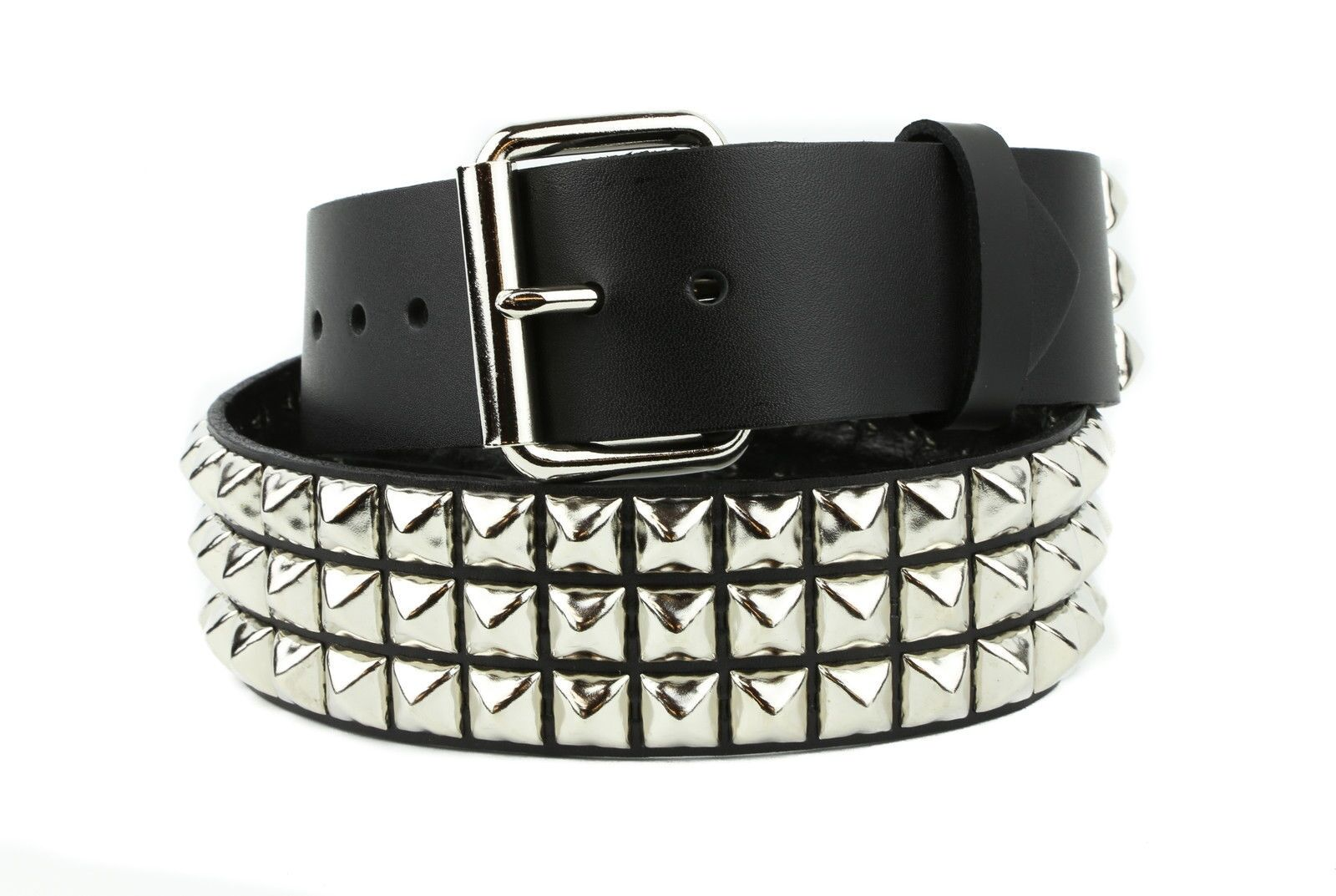 40mm Ladies//Gents Cheap Silver Pyramid Belt Removable Buckle Puck Goth Emo