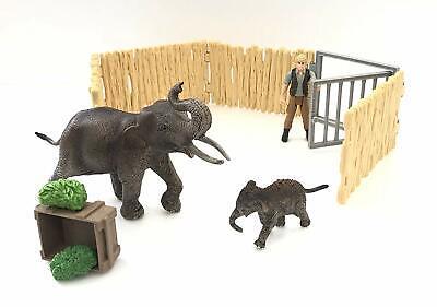 Schleich Wild Life: Casa Per Elefanti Con Ranger Mangime Recinto Cucciolo Di
