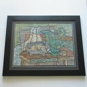 CORNALY-VINTAGE-PAINTING-ABSTRACT-CUBISM-1960-039-S-MODERNISM-SIGNED-MID-CENTURY