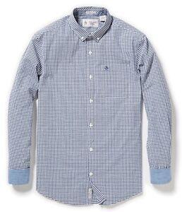 RRP-65-ORIGINAL-PENGUIN-MEDIUM-blue-Gingham-Stretch-cotton-SHIRT-free-p-p