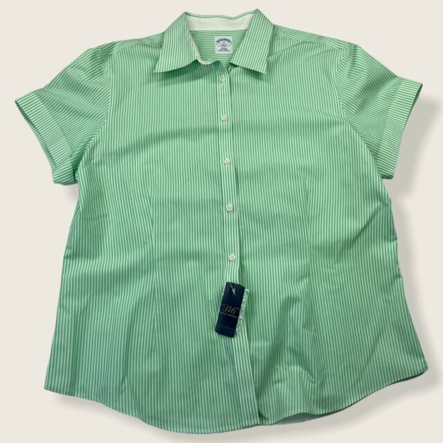 Brooks Brothers 346 Green White Stripe Fitted No Iron Button Up Top Size 16