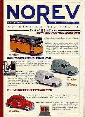 Accurato Norev Edition FÉvrier 1998 / Fiche Feuillet Revue Catalogue PublicitÉ Ampia Selezione;