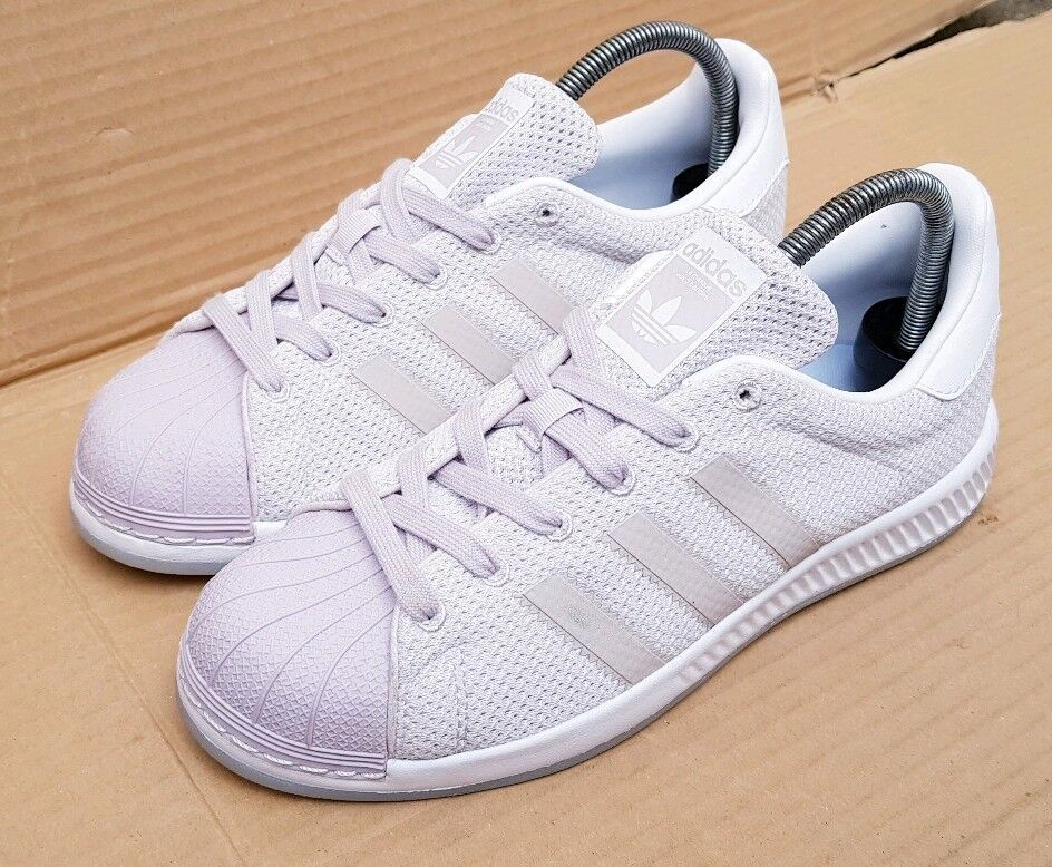ADIDAS SUPERSTAR BOUNCE WHITE AND LILAC GREY TRAINERS SIZE 5 UK IMMACULATE
