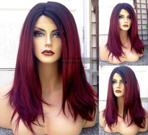 USA: Yaki HEAT OK Burgundy Wine Red LACE FRONT & PART Wig w/ Dark Roots