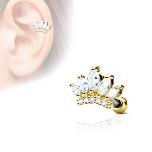 Tragus Piercing Helix Ohr Marquise Krone Tiara Top Zirkonia CZ rose gold silber