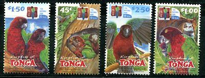 TONGA 2002 RED SHINING PARROTS - BIRDS - EUA NATIONAL PARK MINT SET!
