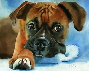 Giclee print boxer dog watercolor watercolor painting art for Dog painting artist