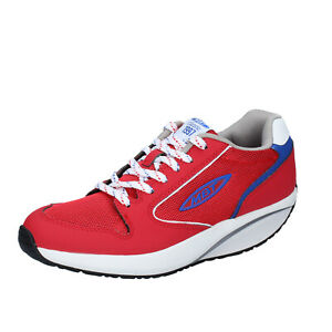 Chaussures Femme MBT 36 Ue Baskets Rouge Tissu Cuir BS382-36