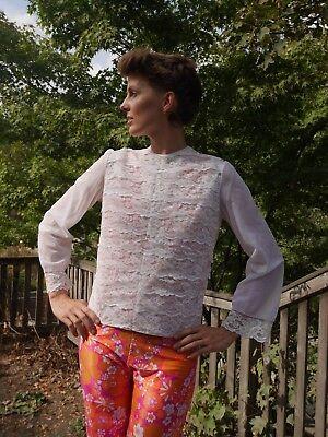 Diplomatico Lilion Nylon Volant Camicia Pizzo Trasparente 60er Rockabilly True Vintage Shirt-mostra Il Titolo Originale