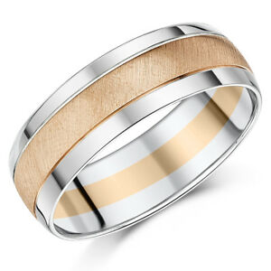 9 Karat Zweifarbig Rose Weiss Gold Hochzeit Ring 7mm Ehering Ebay