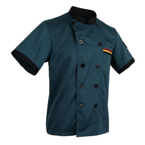 Unisexe Respirant Adultes Chef Veste Manteau Restaurant Cuisine Vêtements