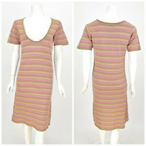 Womens-Gudrun-Sjoden-Tunic-Dress-Short-Sleeve-Striped-Cotton-Scoop-Neck-Size-S