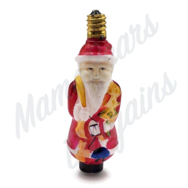 Vintage Santa Claus Christmas Tree Milk Glass Light Bulb 4 ...