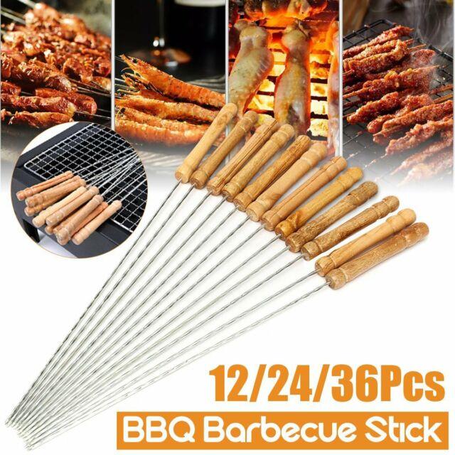 16.5/' /'Wood Handle BBQ Skewers Stainless Steel Barbecue Grill Meat Kebob Skewers