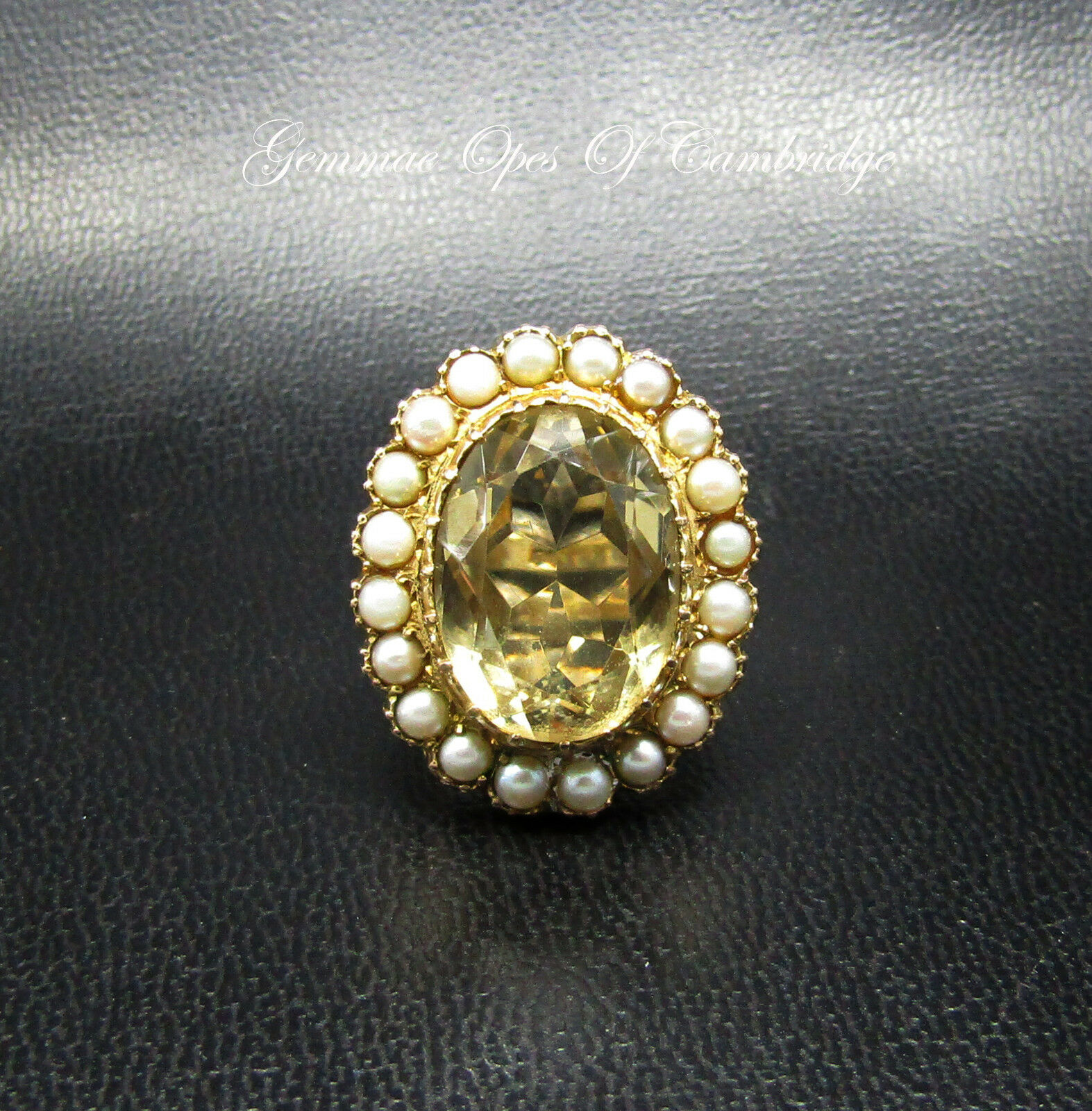 9K 9ct gold Large Vintage Citrine and Seed Pearl Cluster Ring Size O 9g 12cts