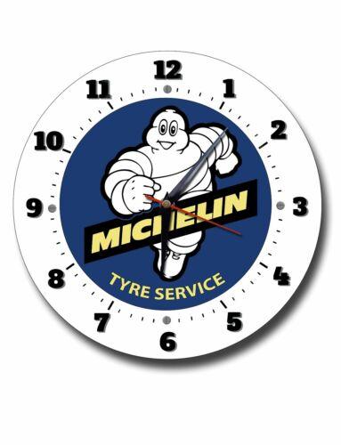 "MICHELIN TYRES 250MM CLOCK //10/"" DIAMETER METAL WALL CLOCK.GARAGE,WORKSHOP,STUDY"