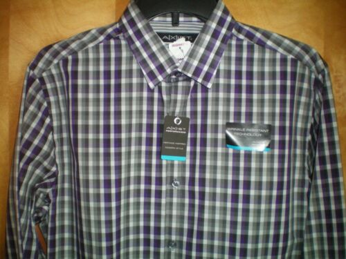 NEW mens size S blue black plaid AXIST wrinkle resistant casual dress shirt $50