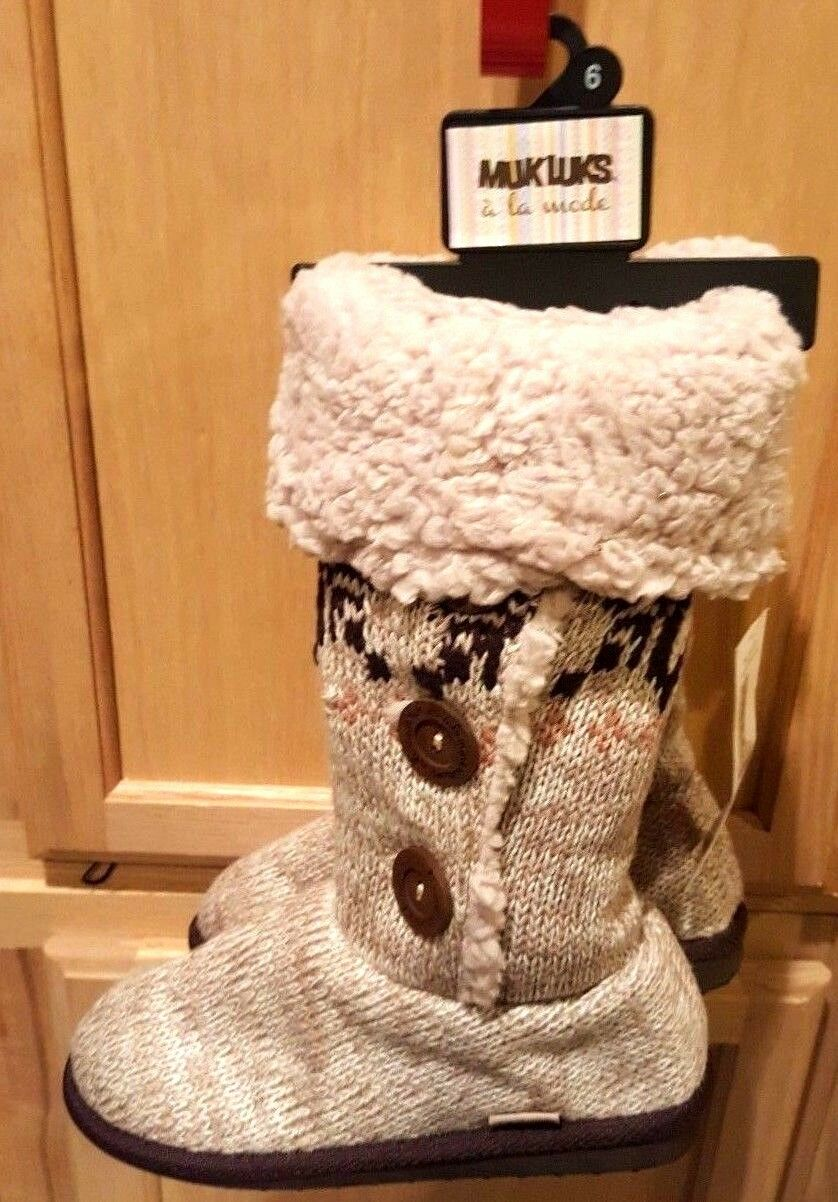 Muk Luks Oatmeal Beige Aztec Fleece-Lined Cuffed Warm Knit Boots, 6M