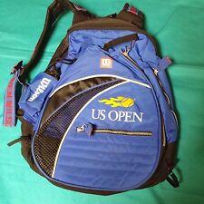 WILSON US OPEN Unisex Blue Original Tennis Racket LG Backpack LOGO STRAPS EUC