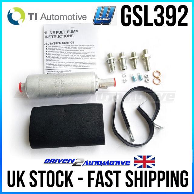Walbro 255lph External Inline Fuel Pump Gsl-392 W/ Installation Kit 400-939