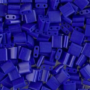 Miyuki-Tila-2-Hole-Square-Beads-5mm-Opaque-Cobalt-Blue-7-2GM-MBTL-414