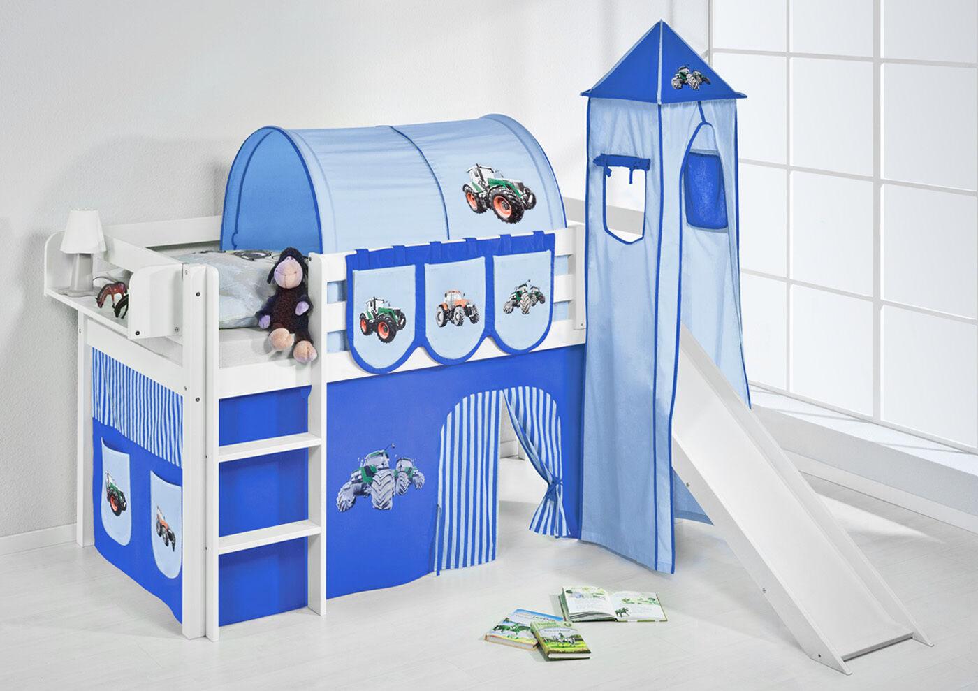 Lit Mezzanine de Lit Jelle Blanc avec Tour + Toboggan Enfants Lilo Tracteur Bleu