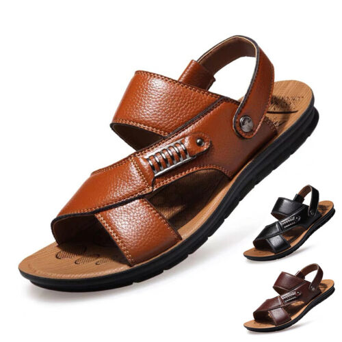 New Men Summer Open toed Flip Flops Sandals Shoes Leather Slippers Beach Casual